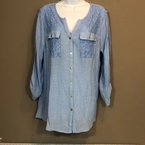 Kim Rodgers Button Up Light Weight Blouse